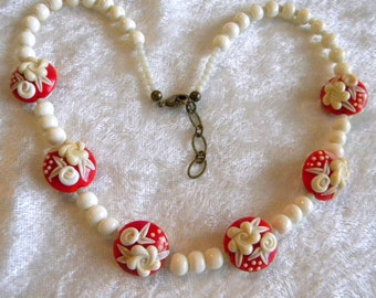 Dark Red & Ivory Colored Roses Flowers Artist  Lampwork Beads Necklace, Vintage Old Round Beads, Victorian Look