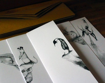 Animal and nature hand-drawn cards-The Natural World in Ink Vol 1-Ltd Edition card pack-Penguin, meerkat, squid, rabbit and whale 105x297 mm