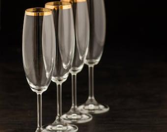 Vintage or cerclées Champagne flûtes - lot de 4