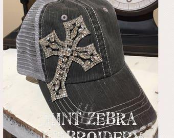 Black Distressed Trucker Hat Rhinestone Cross Rhinestone Cross baseball hat distressed trucker cap