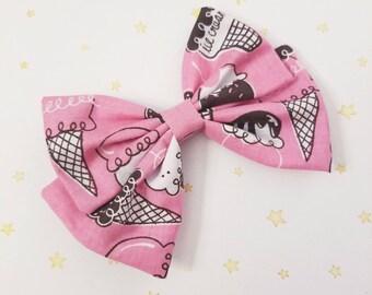 Kawaii Neapolitan Ice Cream  Hair Bow Clip - Fairy Kei Decora Pastel Goth Harajuku inspired