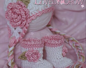 Crochet Patterns Sugar and Spice Set.  Includes patterns for Sugar and Spice Earflap Beanie, and Baby Sugar and Spice Boots. digital
