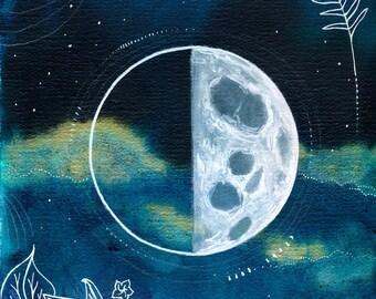 Quarter Moon Print Art Poster 11x17