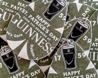 Guinness St. Patrick's Day Earrings - Repurposed Cardboard Beer Coaster Earrings