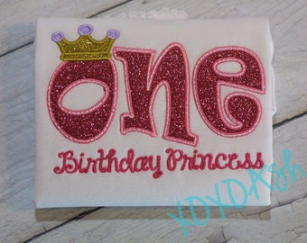 Girls Sparkly Glitter Princess Birthday Shirt--ONE or TWO--Embroidered shirt or bodysuit