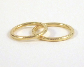18ct gold wedding ring 2mm -  wedding band - hammered finish - 18ct yellow gold - 18ct red gold