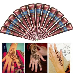 12 Natural Henna Cones, 30gm henna paste in a cone, Handmade henna cones, Hand rolled henna cones, wedding henna kit