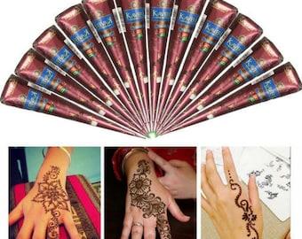 Natural Kaveri Temporary Tattoo Mehandi Herbal Henna Cones Body Art Kit. 12 henna cones.