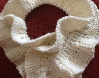 Short Hand Knitted Scarf with Toggle Closure