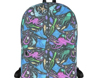 Colorful Marine Life Diversity Backpack