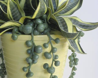 Handmade Succulent Arrangement, Artificial Succulent Arrangement, String of Pearls Plant, Yellow Succulent Garden