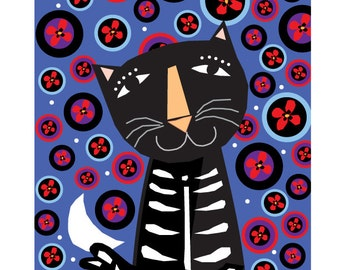 Day of the dead card etsy day of the dead cards black cat notecards 4 greeting cards m4hsunfo