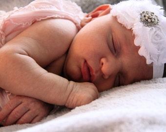 Baby Headband - White Flower Baby Headband