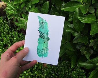 Green Watercolour Feather Card, Mint Green, Watercolour Card, Feather Illustration