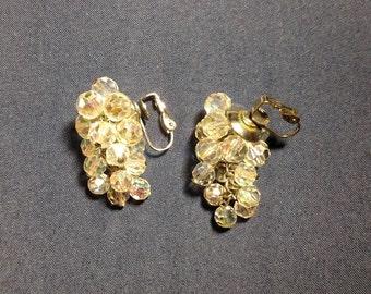 """Vintage White Beaded Dangle Clip on Earrings - 1.25"""""""