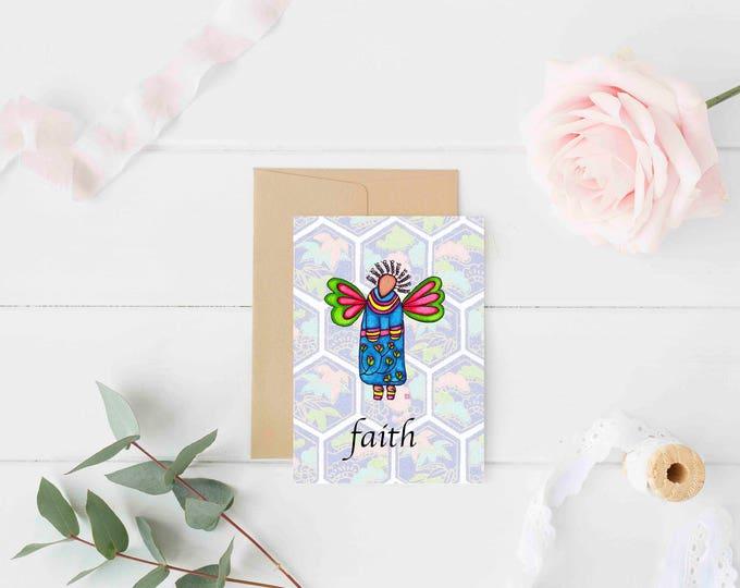 "Greeting Card ""Faith"" / Wedding Bridal Engagement Anniversary / Baptism Baby Shower Girl Angel Wings Christmas Card / Print at Home Artwork"