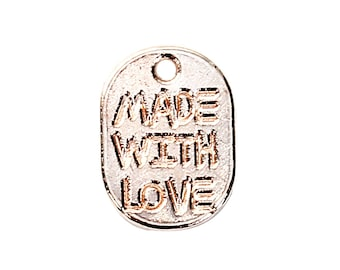 200 pcs. Rose Gold Plated Oval Rectangle Charms Pendants - Made with Love - 11x8mm
