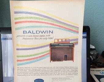 Circa 1962 Baldwin home organ ad. 13 1/2 x 10 1/2.