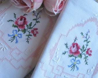 Cross Stitch Roses Pillowcase Set, Bedding, Cross Stitch Cases, New Vintage, Shabby French, Cottage Decor, by mailordervintage on etsy