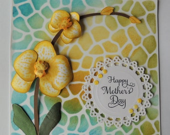 Mother's Day Card, Handmade Card, 3 Dimensional Orchid Flowers