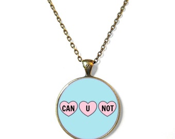 Can u not. Insult Triple Conversation Heart Necklace - Pop Culture Anti Valentine's Day Jewelry - Funny Soft Grunge Pastel Goth Jewelry
