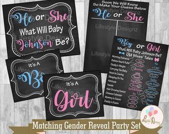 Gender Reveal Party Set - Old Wives' Tales - Gender Reveal Ideas - Gender Reveal Photo Props - Shower Decor- Gender Reveal Voting Board