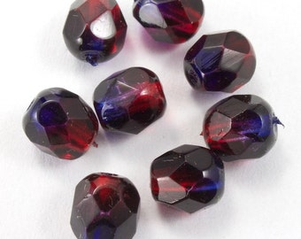 6mm Transparent Garnet/Purple Swirl Fire Polished Bead  (25 Pcs)  #GBD131