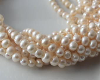 White Freshwater Pearls,  White Pearls, White Potato Pearls, Genuine Pearls, Real Pearls, Ivory Pearls, Cream Pearls 6mm - 7mm  Full Strand