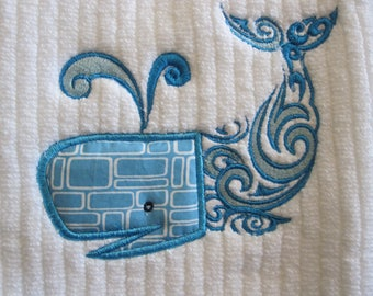 Machine Embroidered Hand Towel.   Blue Whale Applique