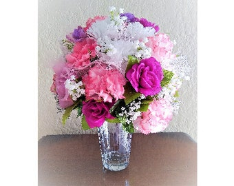 Spring Wedding Bouquet with Pinks, Purples, White, & Baby's Breath, Elegant, Bridal Bouquet