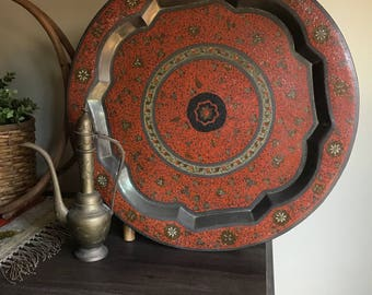 Round Brass Cloisonne Serving Tray Wall Hanging India