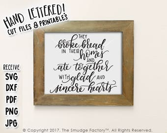 Bible Verse Printable SVG They Broke Bread Hand Lettered Wall Art Christian Dining