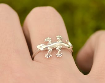 Lizard Ring - Gecko Ring - Silver Ring - Lizard Jewelry - Gecko Fashion - Animal Jewelry, Gift For Her