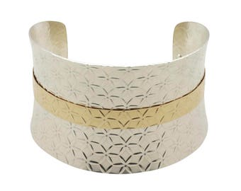 Mixed Metal Cuff Bracelet - Argentium Silver/Gold - Metal Cuff Bracelet - Anticlastic - Textured - Wide
