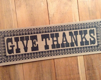 letterpress sign GIVE THANKS poster Brown kitchen decor gift art print