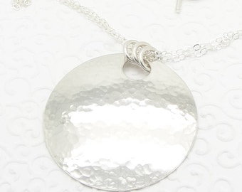 Large Hammered Sterling Silver Disc Necklace with Double Chain