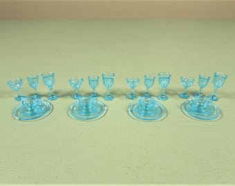 Miniature Aqua Dish Set - Vintage Doll House Water Wine Glass Goblet Cup Saucer Plate