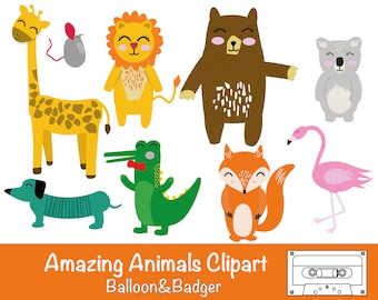 Amazing Animals Clipart | Party Invitations | Birthday Cards | Cake Toppers