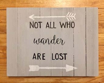 "Wood ""Not All Who Wander are Lost"" Home Decor Sign"