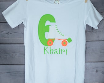 Neon Number Unicorn or Roller Skate Birthday Applique Shirt or bodysuit Boy or Girl