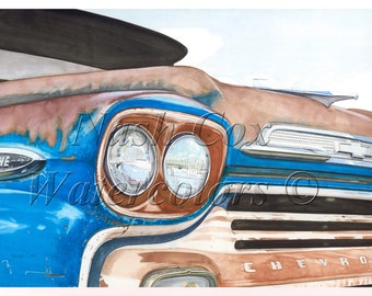 1958 Apache Pickup Print from Original Watercolor Painting