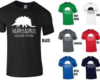 Adults Personalised Stegosaurus Dinosaur T-Shirt - Any Name/Date of Birth (optional)
