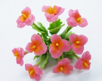 Pansy Miniature Polymer Clay Flowers Supplies for Dollhouse set of 12 stems with leaves