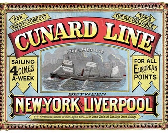 Vintage Cunard Line Travel Poster Print