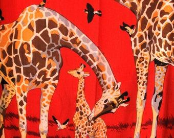 Vintage Square Scarf XL Giraffe Birds Red Black Ladies Hippie Boho Retro Home Decor Tablecloth Wall Hanging