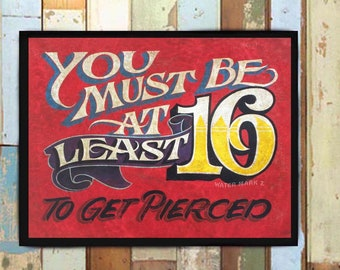 Tattoo  Shop Policy Print from an original hand painted and lettered sign. Tattoo Ink Flash, Tattoo Parlor Decor, Sweet 16 policy