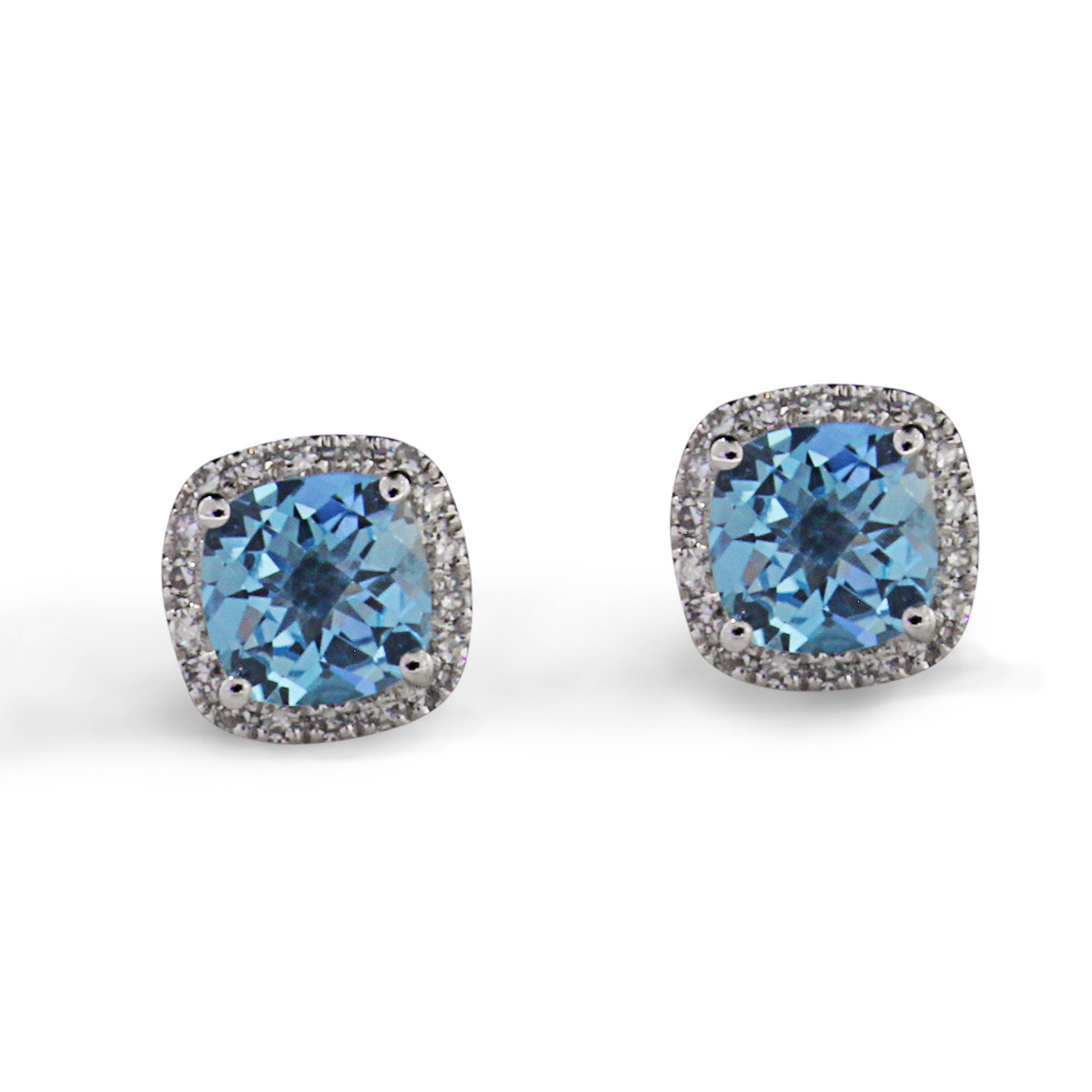stud p push on blue diamond earrings post