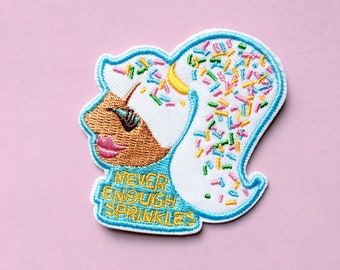 Never Enough Sprinkles Patch | ice cream patch, iron on patch, patches for jackets, patches for bags, embroidered patch, ice cream socialite