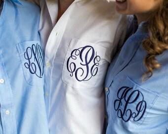 Bride Shirt - Personalized Bridal Party Shirt - Monogram Button Down, Wedding Shirt, Bride Shirts, Wedding Day Shirt, Bridesmaid Shirts