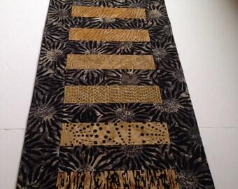 Black and beige/gold batik table runner